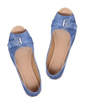 Blue Peep Toe Ballerinas - Shibha