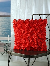 Red Ruffled Cushion Covers (set Of 5) - Dekor World