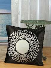 Black Cotton Silver Print Cushion Cover (set Of 2) - Dekor World
