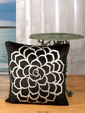 Bold Black Cotton Golden Rose Print Cushion Cover (set Of 2) - Dekor World