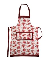 White Base Cotton Apron With Red Floral  Prints - Dekor World
