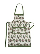 White Base Cotton Apron With Green And Pink Floral  Prints - Dekor World