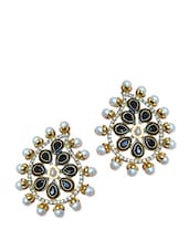 Gorgeous Pearl Stud Earrings With Crystal Beads - Maayra