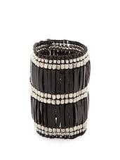Silver And Black Beaded Handcuff - Voylla