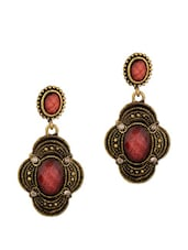 Enthralling Earrings Encrusted With Maroon Stones - Voylla