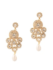 Divine Pair Of Earrings With C Crystals And Pearls - Voylla