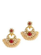 Festive Dangler Earring With Red Colored Stones And Crystals - Voylla