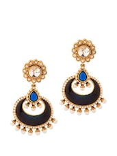 Alluring Pair Of Dangler Earrings With Pearls And Blue Color Stones - Voylla