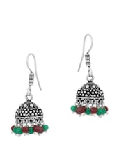Enthralling Pair Of Oxidized Silver Plated Jhumki Earrings With Green And Brown Beads - Voylla