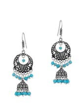 Jhumki Earrings With Sky Blue Colored Beads - Voylla