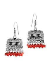 Oxidized Silver Plated Pair Of Jhumki Earrings With Red Color Beads - Voylla