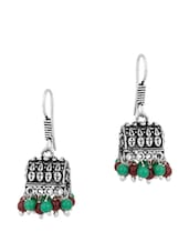 Enthralling Pair Of Jhumki Earrings With Brown And Green Beads - Voylla