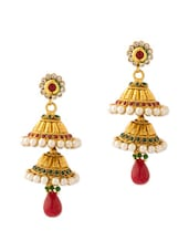 Gold Plated Jhumkis With Stones And Pearls - Voylla