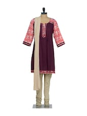 Wine Pleated Placket Kurta With Red Printed Sleeves And A Beige Churidaar, Dupatta - KURTAWALA