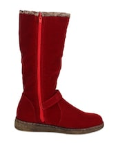 Stunning Red Boots With Buttons And Buckle - Stylistry