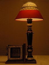 Wooden Antique Lamp With Photo Frame - Unravel India