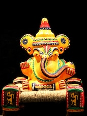 Hand Painted Terracotta Ganesha On Chowki - Unravel India