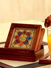 Madhubani Painted Wooden Coaster(Set Of 4) - Unravel India