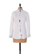 WHITE BUTTON DOWN SHIRT WITH PRINTED PLACKET - House Of Tantrums