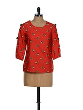 Quirky Printed Red Top - Popnetic