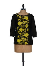 Feminine Floral Black Top - Popnetic
