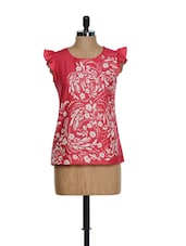 Printed Coral Frill Top - Popnetic