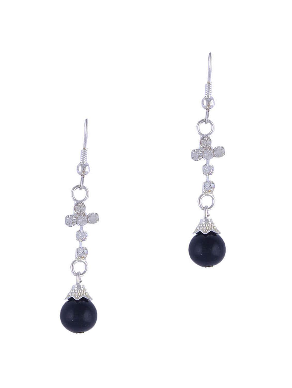 SILVER LONG EARRINGS WITH BLACK BEADS - THE BLING STUDIO