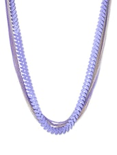 MULTI LAYER CHAIN NECKLACE WITH PURPLE LEAVES - THE BLING STUDIO