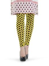 Yellow And Black Polka Dot Leggings - Tjaggies