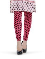 Pink And Black Polka Dot Leggings - Tjaggies