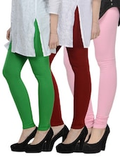 Cotton Lycra Leggings- Pack Of 3 - Tjaggies