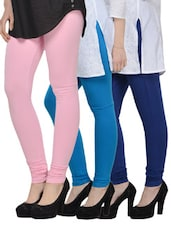 Cotton Lycra Leggings- Pack Of 3 - Tjaggies - 893179