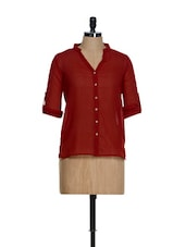 Basic Maroon Button-down V-neck Shirt - La Zoire