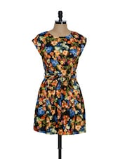 Multi-coloured Floral Print Belted Dress - La Zoire