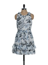 Grey Floral Print Summer Dress With A Frilled Base - La Zoire