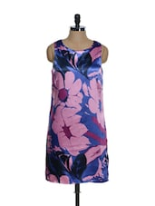 Blue Base Polyester Satin Dress With Pink Floral Prints - La Zoire