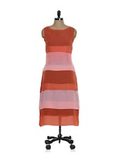 Coral Red And Pink Sleeveless Long Dress - La Zoire