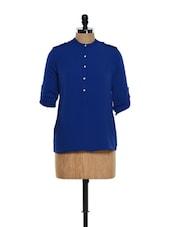 Trendy Blue Button Down Shirt - Femella
