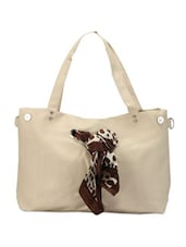 Fabric Tie-up Trimmed White Tote - Calvino