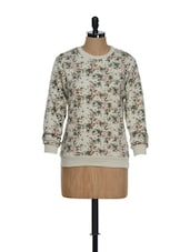 Floral Ecru Cotton Knit Top - Hypernation