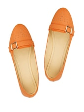 Stylish Orange Ballerinas With A Metal Buckle And Studs - ZACHHO