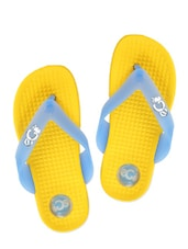Textured Yellow And Baby Blue Flip Flops - ZACHHO