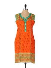 Bright Orange Printed Cotton Kurta With A Touch Of Green - Aaboli