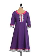 Bright Purple Flared Cotton Kurta - Aaboli