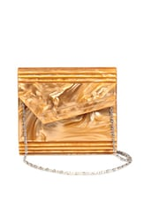 Golden Envelope Clutch With An Asymmetrical Flap And A Metal Chain Strap - Reyna