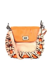 Orange And Peach Unique Looped Sling Bag - Reyna