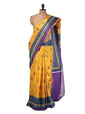 Mustard And Purple Bhagalpuri Silk Saree - Purple Oyster