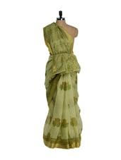 Elegant Green Printed Cotton Saree - Purple Oyster