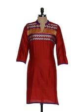 Maroon Full- Sleeved Kurta With An Embroidered Yolk - ETHNIC