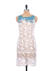 Elegant  White Printed Summer Dress With A Blue Neck - EIGHTEEN27